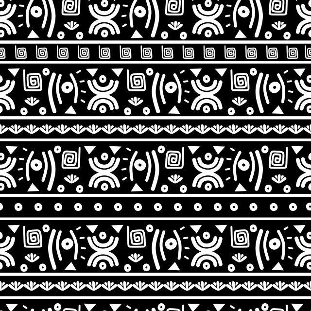 Ethnische Muster Hintergrund Mit Nahtloser Handgezeichneter Schwarz  Weiß  Farbe Abstrakter Afrikanischer Stil Für Druck Und Mode Textil #afrikanischerstil