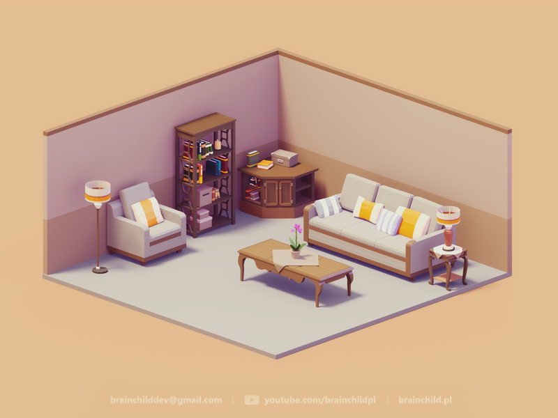 3d room assets 3d retro couch low poly game icon rh pinterest com