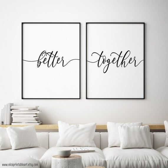 Better Together Printable Couple Wall Art Set Of 2 Prints Etsy Bedroom Decor For Couples Funny Bedroom Bedroom Wall Decor Above Bed