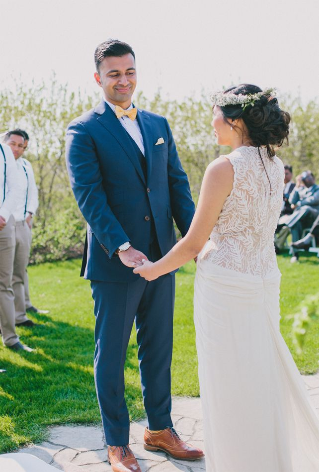 Garden Chic Wedding In Ontario The Bride Wears BHLDN Dress