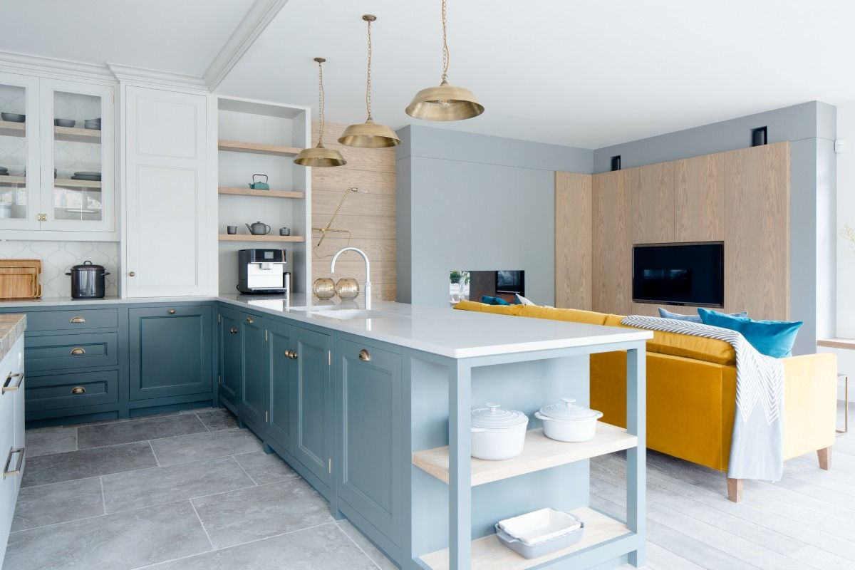 Matisse Limestone pairs beautifully with this blue kitchen ...