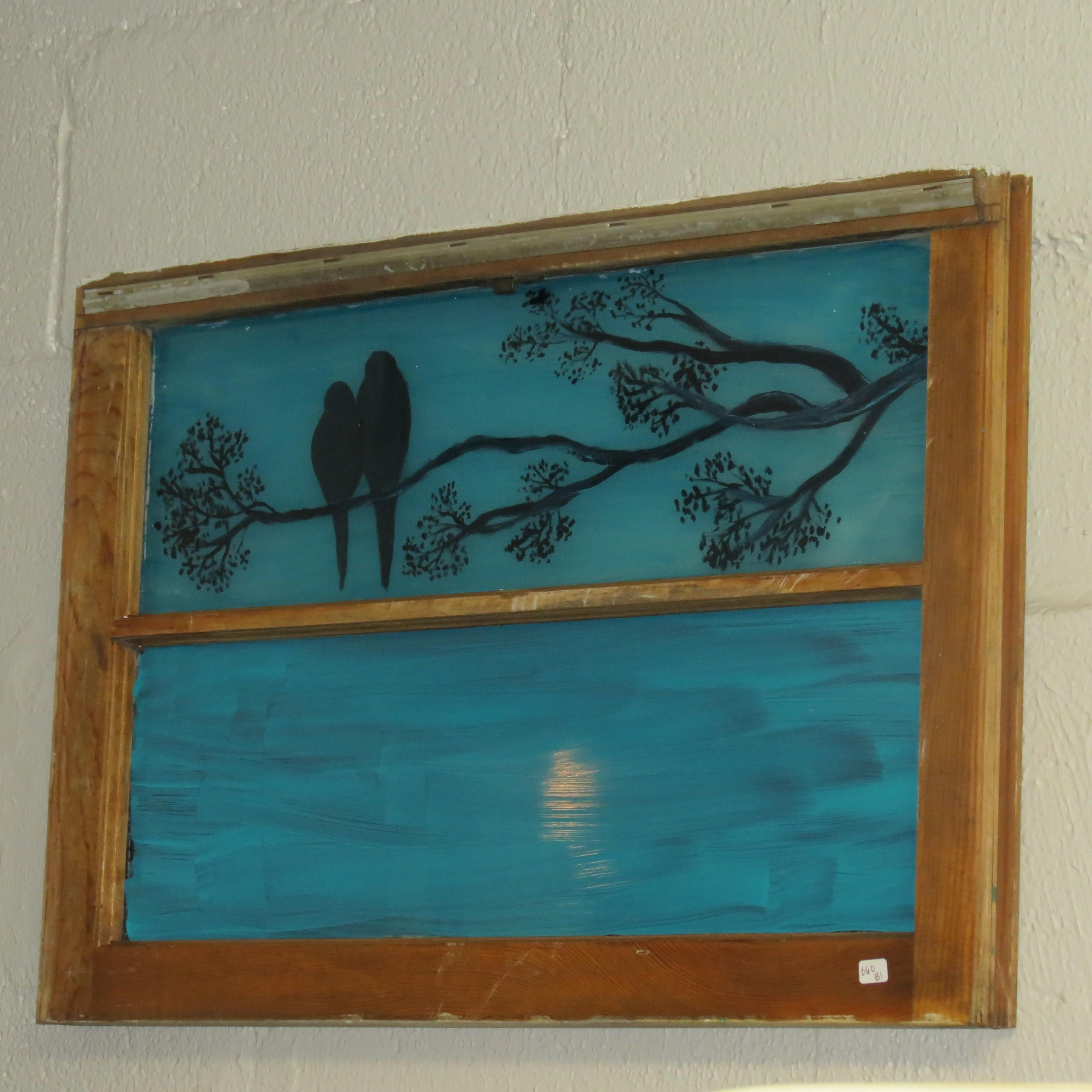 Hand Painted Vintage Window Repurposed Glass Vintage