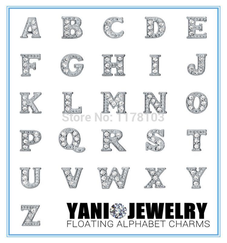 Alphabet Letters for  Floating Charm for Glass Living Memory Locket