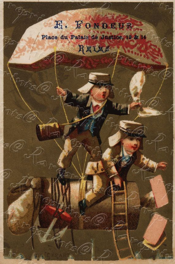 Original Vintage Adverting Card - French Trade Card-  Children in a flying machine. parachute