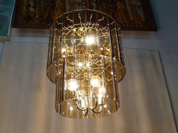 Hollywood Regency Two Tier Brass And Beveled Smoke Amber Glass