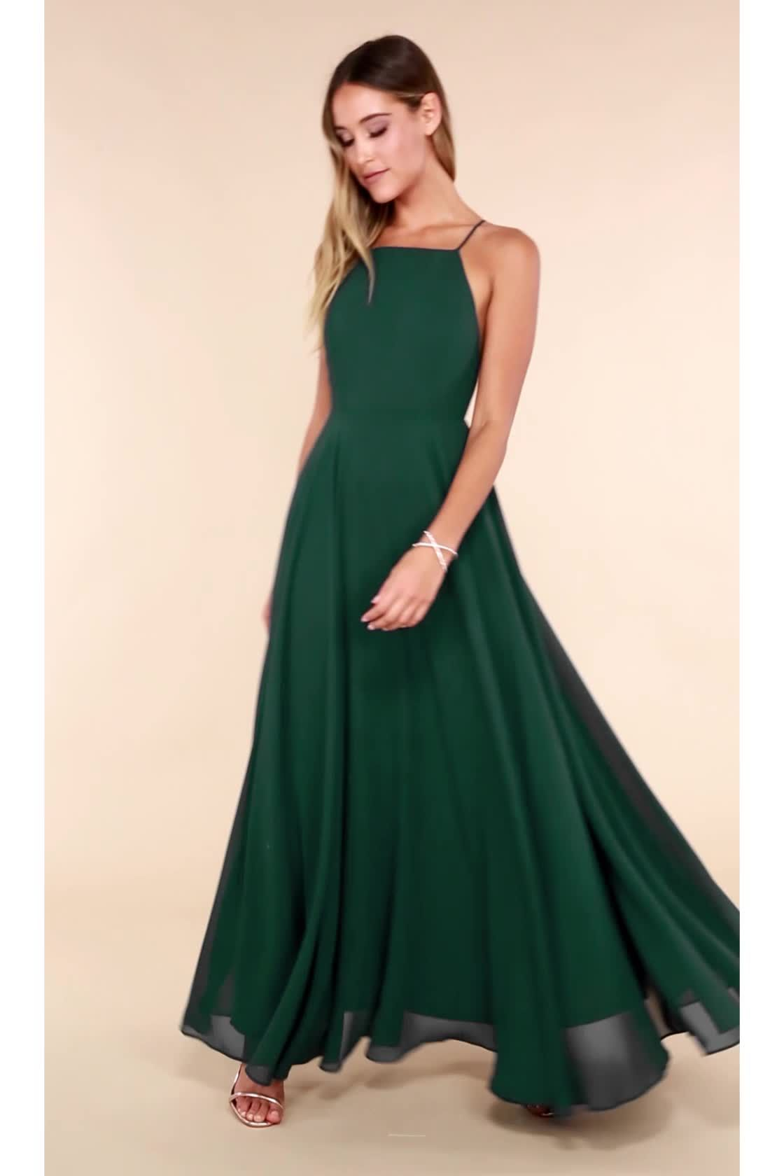 93c27827ad59e Beautiful Dark Green Dress - Maxi Dress - Backless Maxi Dress - $64.00