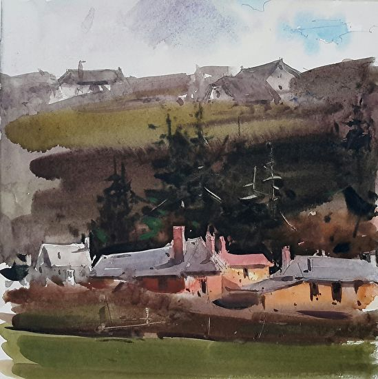 Somwhre In Normandie By Eugen Chisnicean Watercolor X