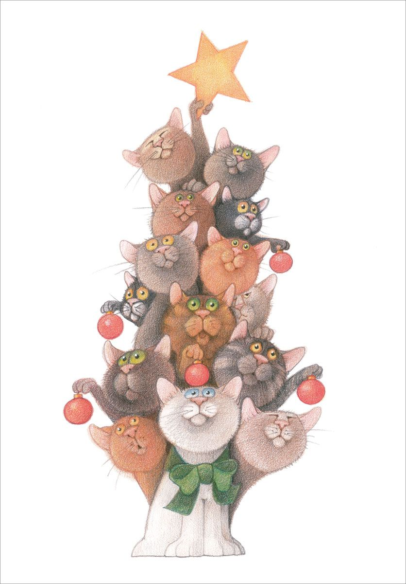 C0157 linnea design madison park group christmas card Christmas tree cat tower