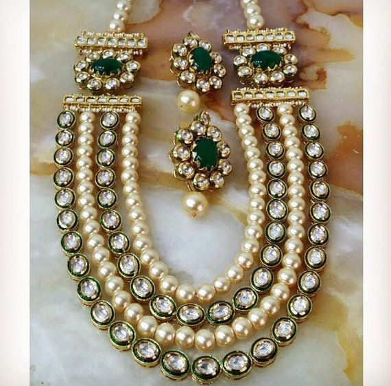 Kundan necklace set, wedding jewelry, Indian jewelry
