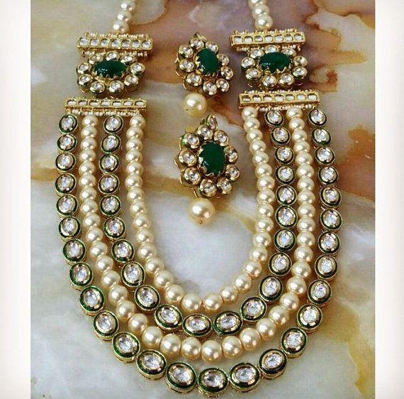 Kundan Jewelry Set: Kundan Necklace Set Wedding Jewelry Indian By InthePitara