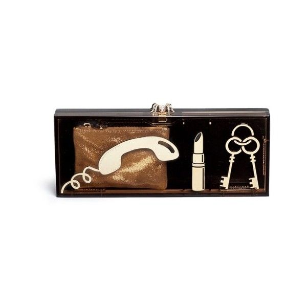 Charlotte Olympia 'Essential Clutch Box' Perspex clutch (6.345 BRL) ❤ liked on Polyvore featuring bags, handbags, clutches, purses, brown, lucite purse, brown handbags, acrylic box clutch, acrylic clutches and brown purse