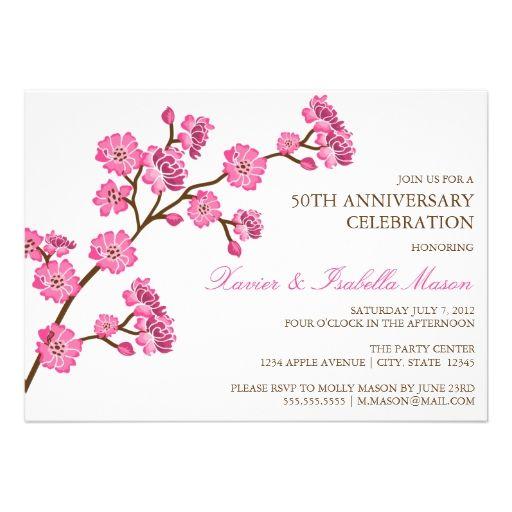 5 x 7 Cherry Blossom   Anniversary Party Invite