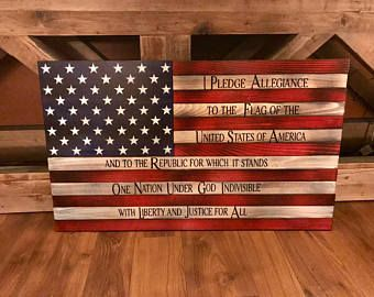 Rustic American Flag Distressed Wood Wooden Wall Art