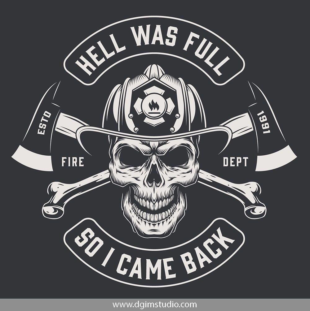 Skull creator Firefighter logo, Firefighter, Skull logo
