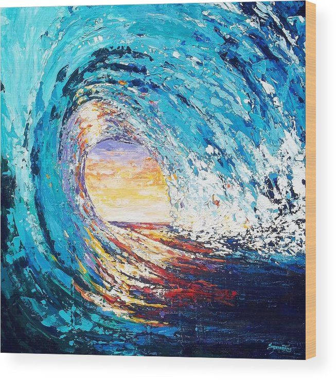 Wave Of Light Wood Print By Suzanne King In 2020 Wave Art Nature Artwork Paintings Art Painting Acrylic
