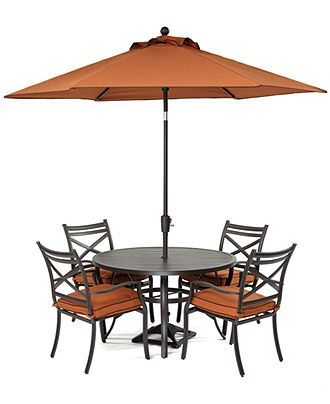 Soho Outdoor Patio Furniture 5 Piece Dining Set 47 Round Table