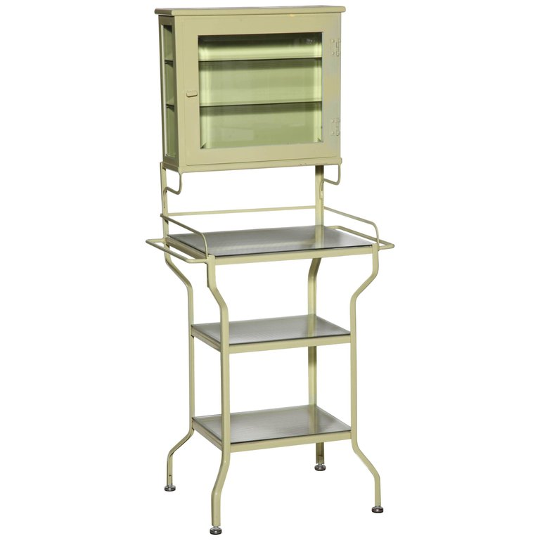 Pale Green Enamel Glass Storage Cabinet With Five Optical Glass