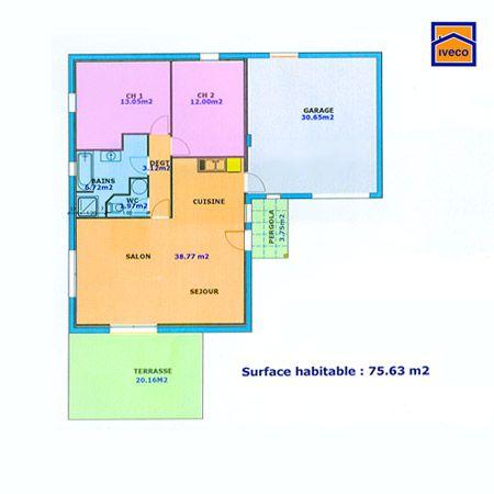 plan maison plein pied 2 chambres tableau haj Pinterest - plan de maison mitoyenne