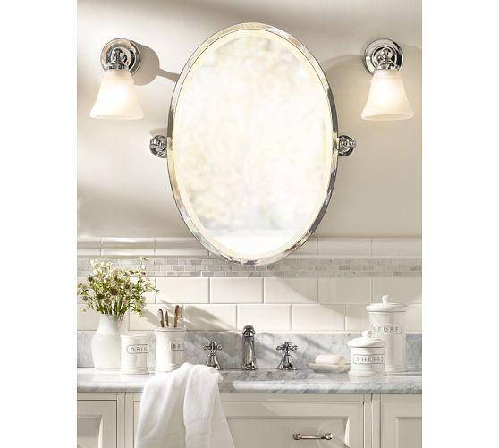 Kensington Pivot Oval Mirror Pottery Barn Also Like The White And Gray Tile