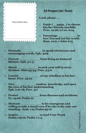 graphic about Printable Devotions for Tweens titled 10 Prayers for Teenagers. Totally free! Prayer Magazine Printable Photograph