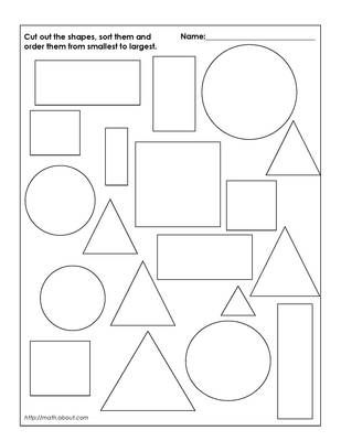 Cut shapes and order from smallest to largest