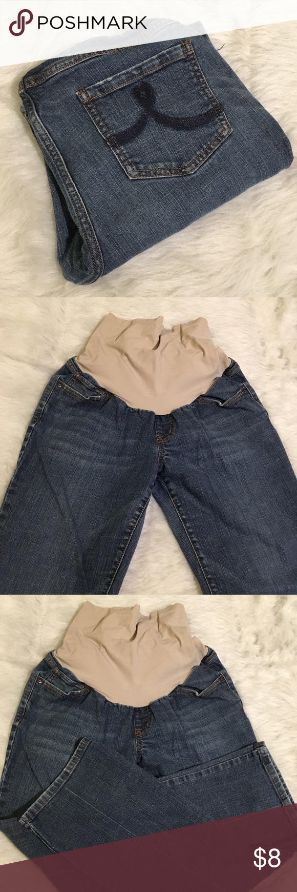 655032e0b6682 ... Maternity Denims Great go to jeans, with stretchy tan colored baby  band. Perfect for second and third trimesters. In very good pre-loved  condition.