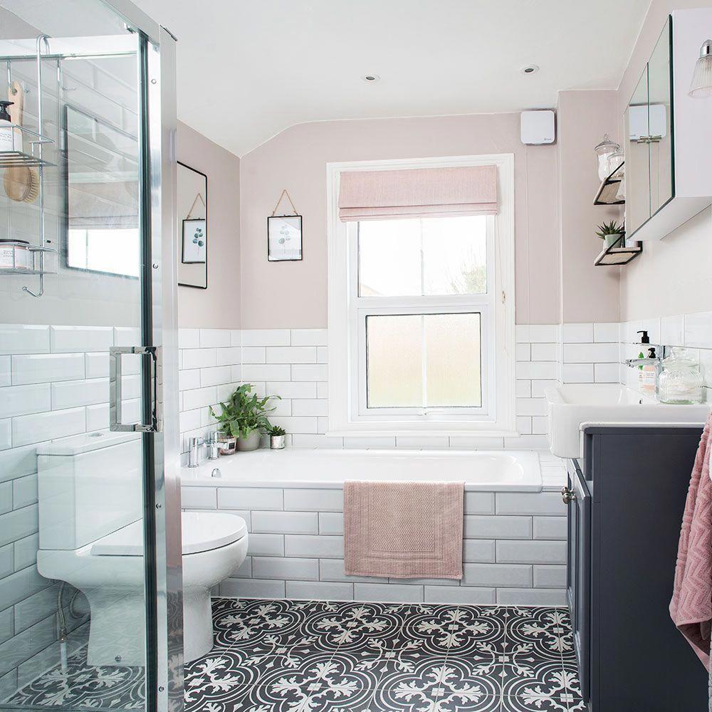 Bathroom Makeover Patterned Floor Blush Walls 3 Bathroomfloor Bathroom Remodel Cost Bathroom Makeover White Bathroom Interior