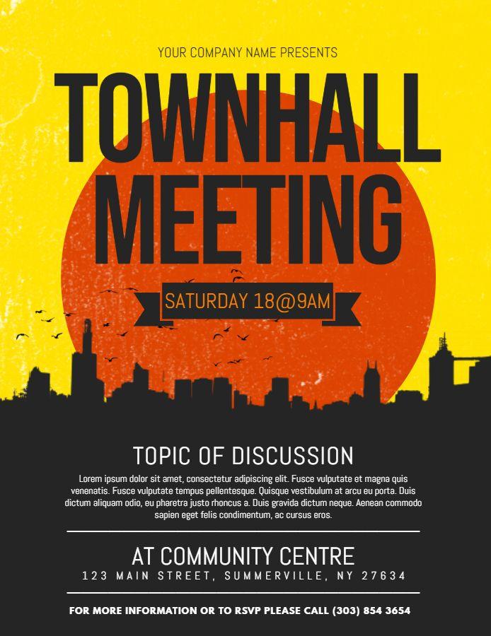 Modern Town Hall Meeting Poster Flyer Template Town Hall Meeting Poster Design Inspiration Poster Template Design