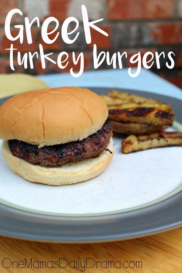 Flavorful 5 Ingredient Greek Turkey Burgers Recipe Greek Turkey Burgers Greek Turkey Turkey Burgers