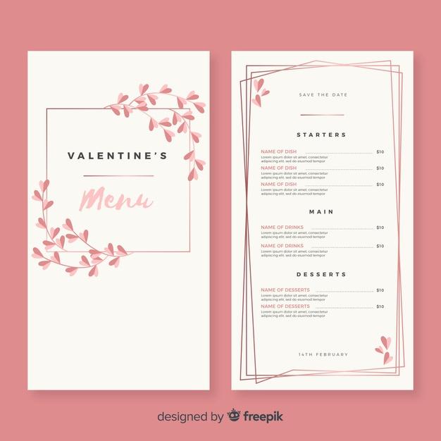 Simple Branches Valentine Menu Template Free Vector In Free Valentine Menu Templates Menu Template Free Menu Templates Printable Menu Template