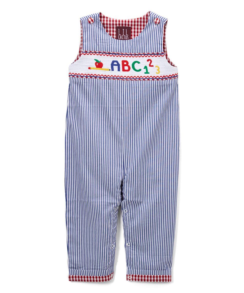 "Dark Blue Stripe ""ABC"" Smocked Overalls - Infant"