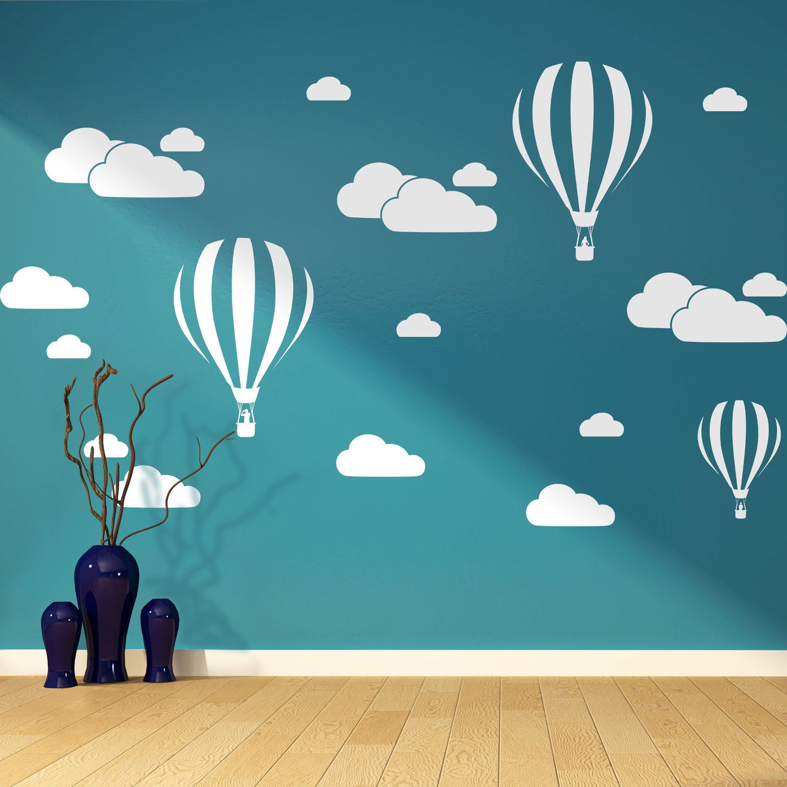 HWHD Clouds &Hot Air Balloons Nursery Kids Child's Room