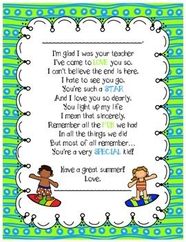 End of the Year Poem From Teachers | Preschool graduation poems ...