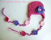 Crochet Baby Girl Hat with Earflaps and Flowers - Pink, Light Pink, and Lavender - Newborn, Toddler, Infant Sizes Available