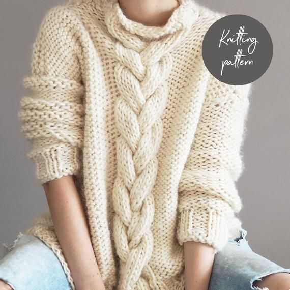 Knitting Pattern, Cable Knit Jumper, instant download ...