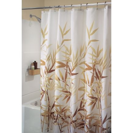 Interdesign 72in X Anzu Shower Curtain In White With Brown Tan Bamboo Leaves
