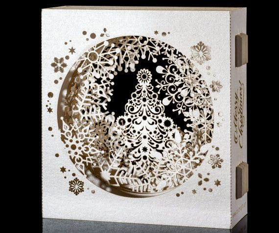 Pop Up Christmas Cards, 3d Christmas Gift for Her, Paper Lace, Christmas Tree, 3d card, SnowFlake, Personalized Christmas gift, White