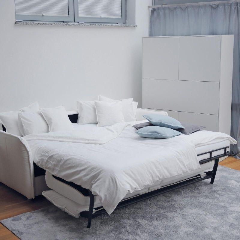 Schlafsofa Insideout Organic Coconut 160 Mit 160 X 200 Cm Liegeflache Weiss Eiche Massiv Fusse Schlafsofa Bett Mit Lattenrost Sofa