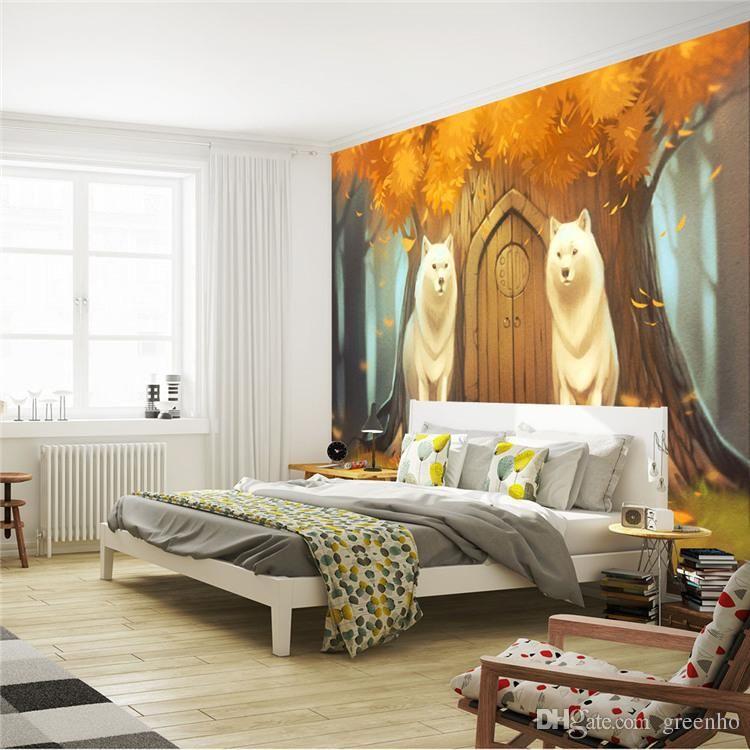 Cartoon Wall Mural Customize Photo Wallpaper Forest Wolf
