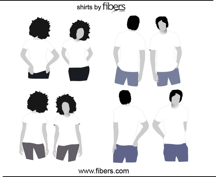 Free Vector TShirt Templates With Models Men And Women Front