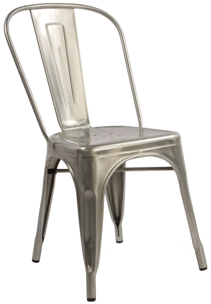 Tolix Metal Chairs Gunmetal Red Silver Retro Vintage Dining Chairs x 4