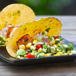 Shrimp Tacos with Grilled Poblano and Avocado Salsa TasteSpotting #jerkshrimp