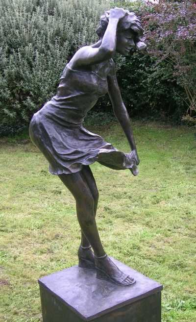 Bronze Resin Garden Or Yard / Outside And Outdoor Sculpture By Artist  Mitchell House Titled: U0027Girl In A Breeze Life Size Bronze Resin Garden Yard  Statues)u0027