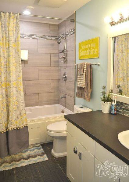 A Happy Yellow Aqua Kids Bathroom, Bathroom Ideas