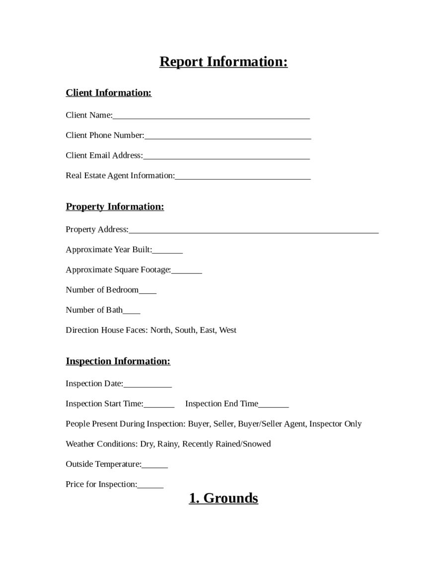 Home inspection report form pdf edit fill sign online