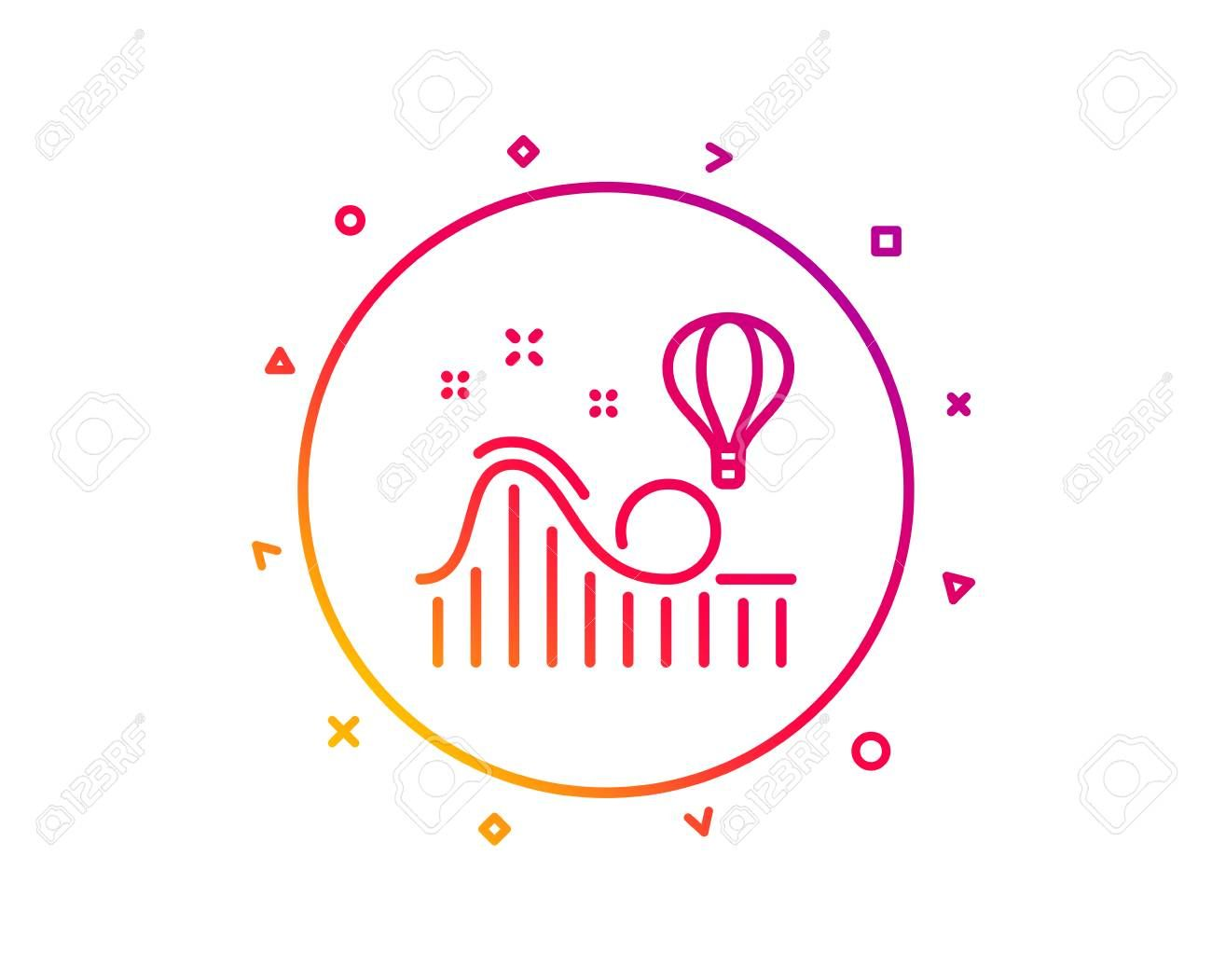 Roller Coaster Line Icon Amusement Park Sign Carousels Symbol Gradient Pattern Line Button Roller Coaster Icon Design Geometric Shapes Vector Art Pincode