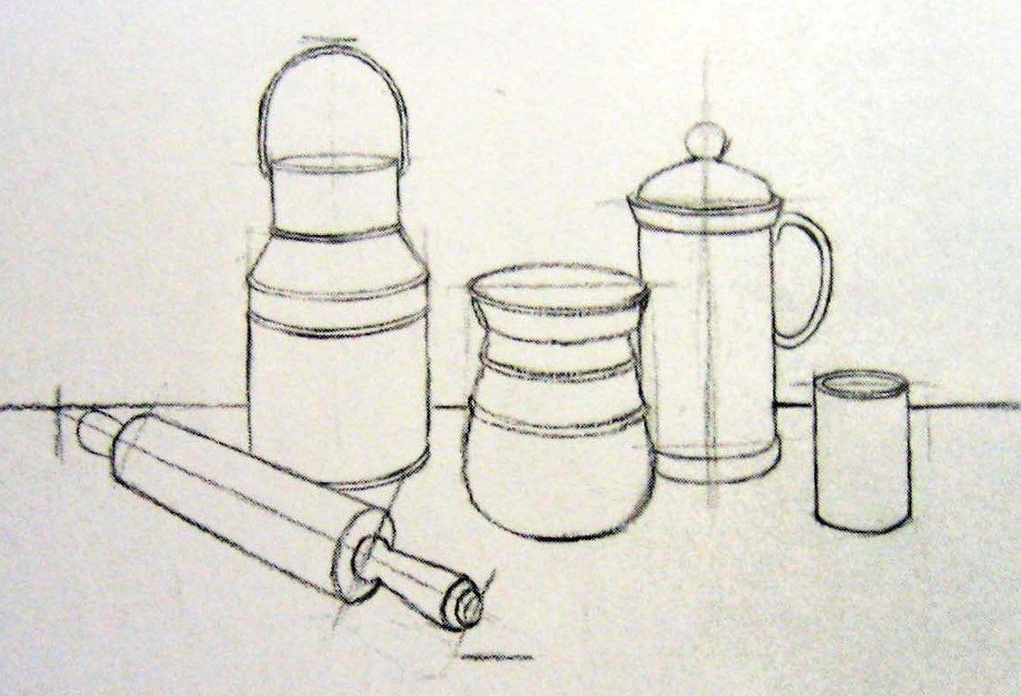 Line Drawing Still Life : Formas de cilindros utilizados en dibujo lineal