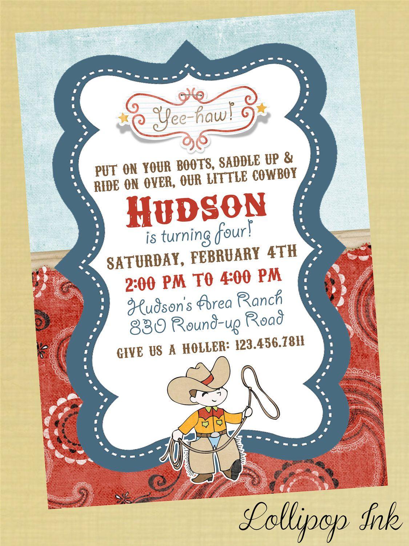 COWBOY Printable Invitation Happy Trails Cowboy by LollipopInk ...