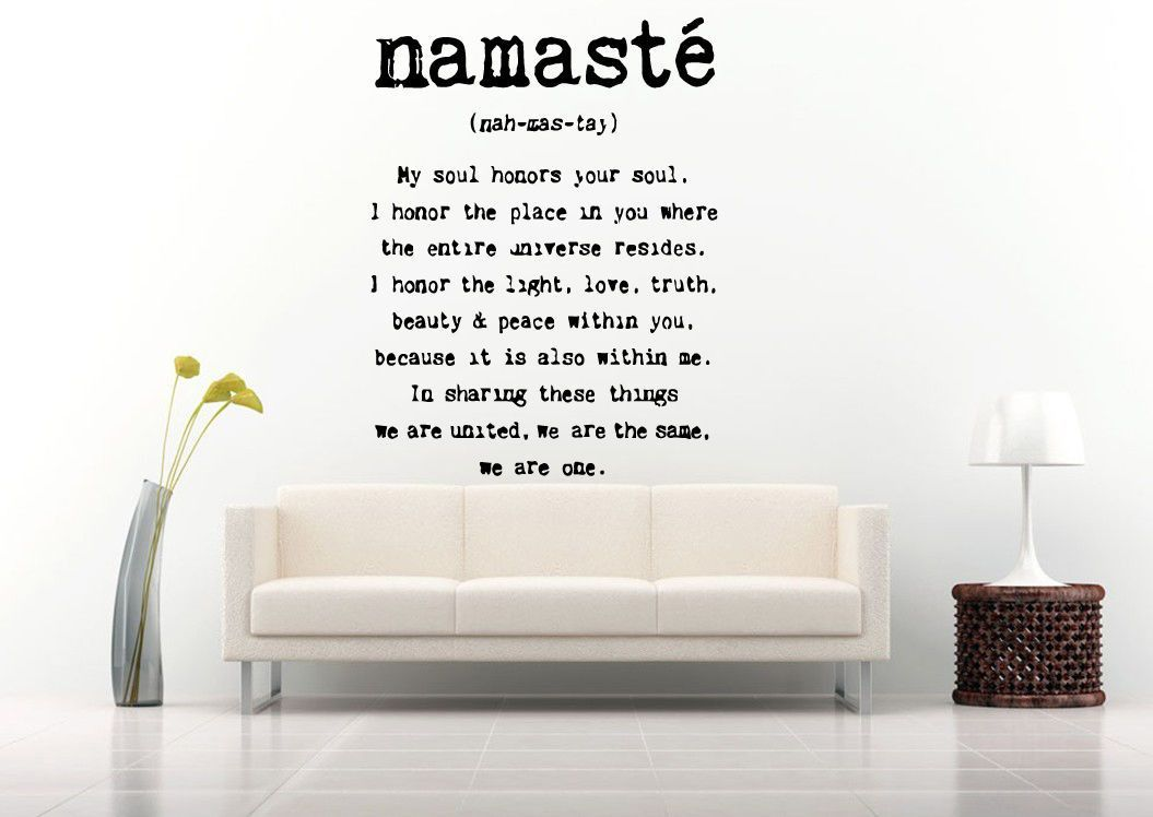Wall Room Decor Art Vinyl Decal Sticker Namaste Quote Yoga Zen Large Big AS535