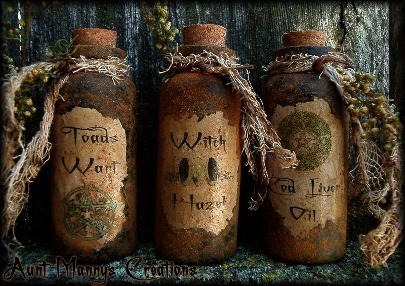 Aunt Manny's Witch Potion Bottles